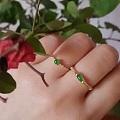 天然阳绿翡翠18K金镶钻戒指手链银镶首饰套装