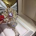 宝格丽同款胸花高档天然紫珍珠胸花