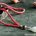 出橘红色珊瑚珠串!裸珠半成品!848元