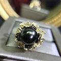 天然原色大溪地海水黑珍珠戒指
