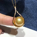 18k金镶嵌天然海水金色珍珠项链,一套1999,喜欢的进