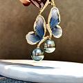 纯正镜面孔雀绿大溪地黑珍珠蝴蝶🦋耳环