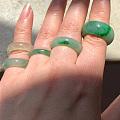 转翡翠紫圈圈,冰黄冰绿辣绿戒指指环尾戒,紫冰糯手牌