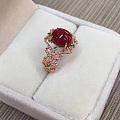 日本阿卡牛血红小戒指💍18k金镶嵌 款式新颖 实物如图 今日特惠