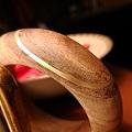 紫檀木嵌金手镯