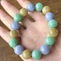 转闲置翡翠三彩糖果大珠手串、翡翠浓豆绿珠项链7.2mm、翡翠糖果色10mm手串