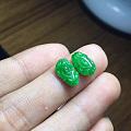 阳绿翡翠招财貔貅戒面一对