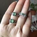 925银镶翡翠耳环戒指手镯有证书