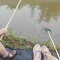 组团郊区钓虾中,周末休闲好去处。