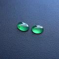 【玉缘雅轩】6.22玻璃种蓝水满色放光蛋面一对,微信yyyx666