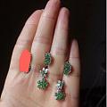 低价清925银镶翡翠红宝石和祖母绿耳环戒指
