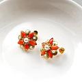 红珊瑚耳钉,故宫风微设计款,典雅精致 v:18801081098