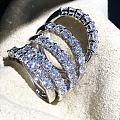 高品质7钻铂钌Pt950精工排钻戒指