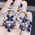 蓝宝石钻石豪华耳环,真正的精工