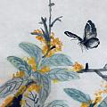 花开千重蕊,风来万点香。 己亥秋月晚桂又开,画此如闻花香,文石先生诗并画。