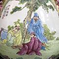 景德镇十大瓷厂重工粉彩手绘 人物故事 鹿头尊一对