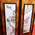 景德镇(民国)陶瓷粉彩花鸟对屏