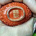 清嘉兴,描金,瓷珊瑚红镂雕,金钱八吉祥,轉心,鼻煙壺。