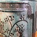 铜官窑松石绿刻花花鸟釉下墨彩罐