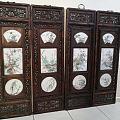 刘雨岑,粉彩瓷《花好月圆》四条屏