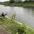 陪着钓鱼,收获一条迷你鱼!