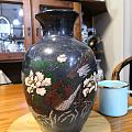 大理石刻花彩绘花瓶
