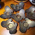 蝴蝶型黄铜杯垫,民国
