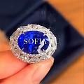 【皇家蓝彩宝】客订欣赏,超豪华超美的缅甸无烧皇家蓝戒指