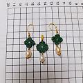 纯天然珍珠,14k金珠,925银镀金耳钩,6股彩金蜡线