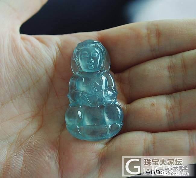 大家来看看少见的蓝玻璃哦_翡翠