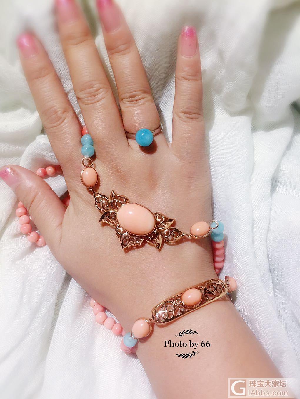 深水珊瑚套装。复古的少女心。_珊瑚珠串戒指