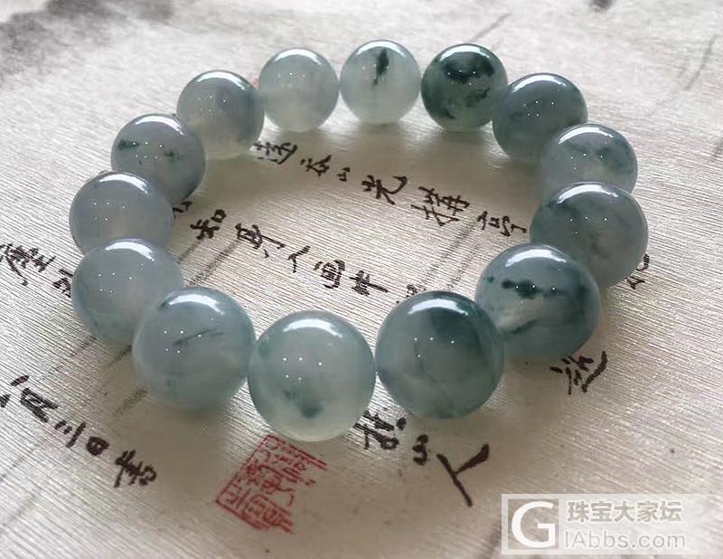 【醉墨】天然老坑冰种飘蓝花翡翠圆珠手..._小凤眼菩提