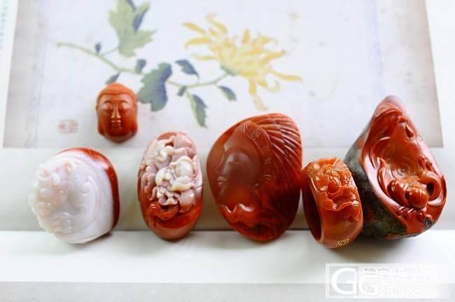 南红牡丹戒指。如来佛头。牡丹。荷花。太多美物:)_南红