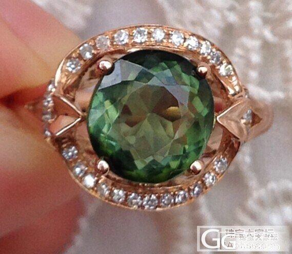 天然碧玺戒指 18k金天然钻石镶嵌 带权威证书_珠宝