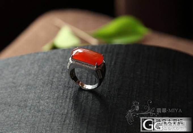 【咪雅翡翠】18k白金钻石镶嵌冰红翡马鞍翡翠男戒指_翡翠