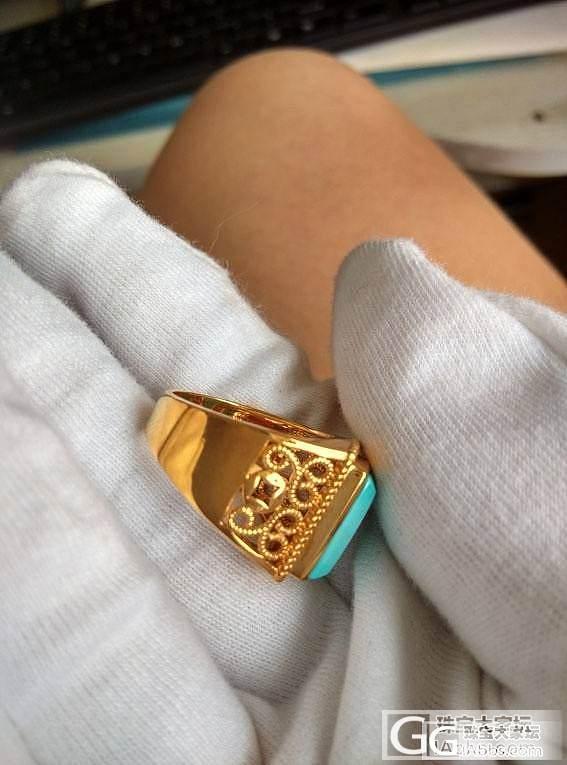 大猫窝的18K金镶绿松石指环16号_宝石