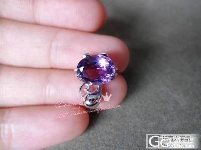 3只超萌的小猫咪~石榴石、紫水晶、黄水晶的招财猫吊坠~身体还可以摆动哦~_宝石