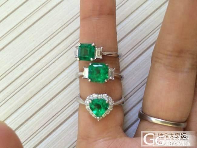 【傲蕾伊兰珠宝】3枚哥伦比亚 vivid green 祖母绿戒指_傲蕾伊兰珠宝