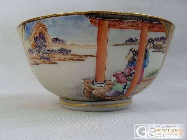 乾隆广彩织金仕女童子纹碗_陶瓷