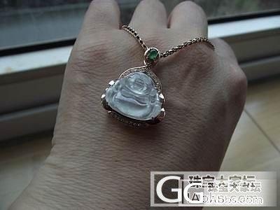 特价处理18K玫瑰金伴钻镶嵌A货翡翠白玻璃种佛公吊坠_翡翠
