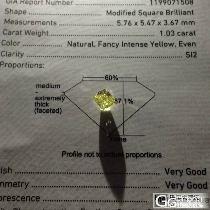 【GIA黄钻现货】 1.03ct Fancy Intense Yellow SI2 VG VG M_千寻珠宝