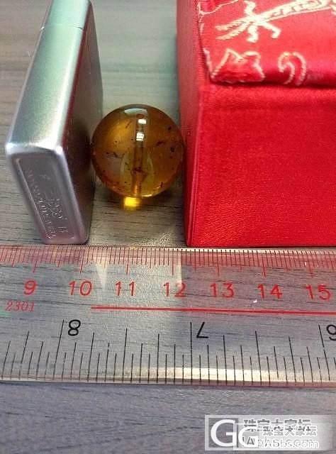转自己磨的缅甸金珀虫珀大圆珠22mm净水金珀_有机宝石