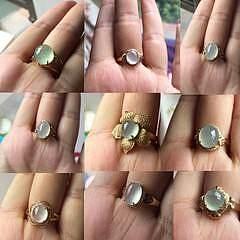 冰心系列 18K翡翠起光冰蛋戒指天然钻石镶嵌 天然缅甸翡翠A货有证_小凤眼菩提