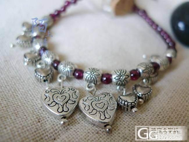 甜美民族风小珠粒紫玫红色石榴石脚链 坠心相印藏银小心_莫桑石宝石