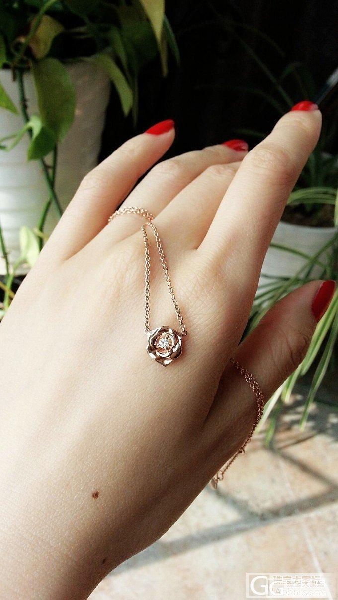 玫瑰玫瑰我爱你——秀一个玫瑰金镶嵌小钻石玫瑰锁骨链_项链金