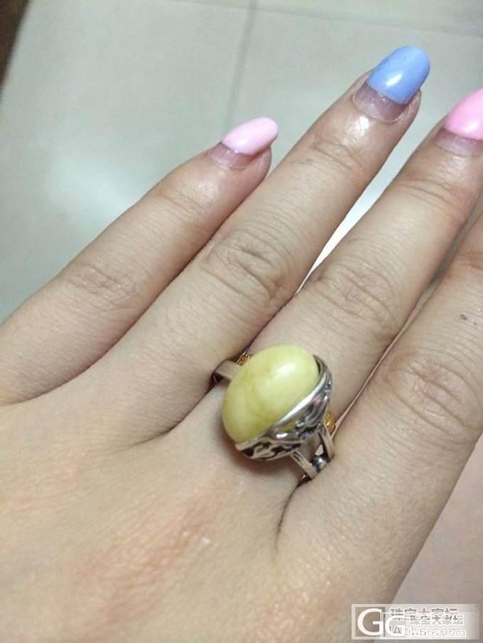 出2个蜜蜡戒指 大圈口_有机宝石