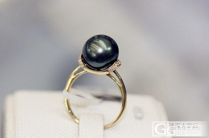 【伊人美珍珠】10.8mm大溪地黑珍珠戒指孔雀绿_有机宝石