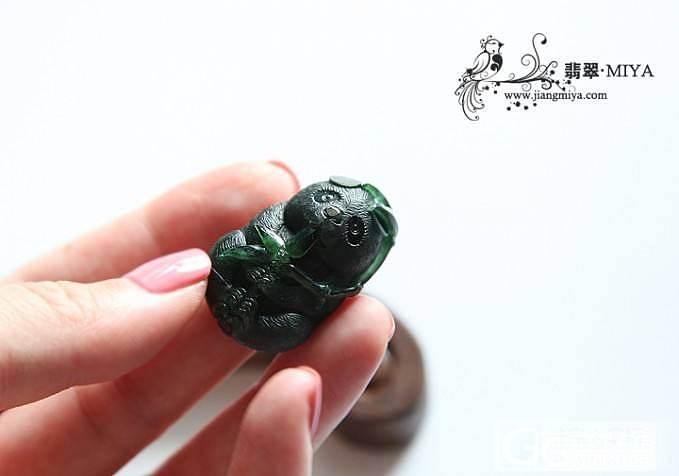 【咪雅翡翠】墨翠立体可爱小熊猫冰种翡翠吊坠_翡翠