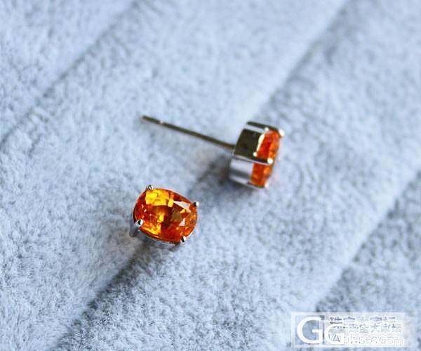 【彩石记】超亮椭圆锰铝榴石芬达橙耳钉_宝石