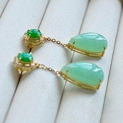 【相依】水润艳阳绿蛋水滴耳坠 18K黄金钻石,两用,超美_小凤眼菩提